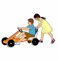 Two children and a karting vector