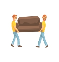 Two movers carrying sofa for ressetlementdelivery vector