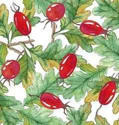 Watercolor Seamless pattern with acorns and vector image