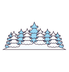 winter landscape with pines on silhouette color vector image vector image