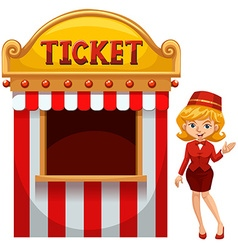 Woman selling ticket at the booth vector image vector image
