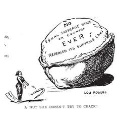 Womens suffrage cartoon - uncrackable vintage vector