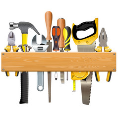 wooden plank with tools vector image vector image