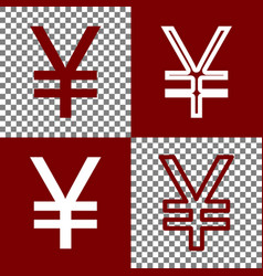 Yen sign bordo and white icons and line vector