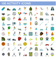100 activity icons set flat style vector