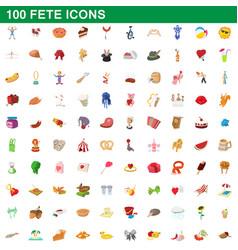 100 fete icons set cartoon style vector