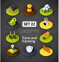 Isometric flat icons set 22 vector image