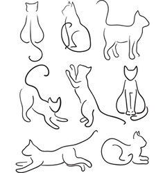 Silhouette of Cats vector image