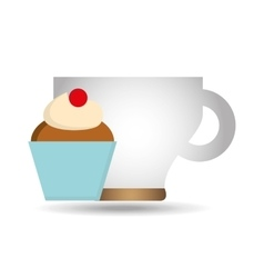Cartoon cupcake cherry sweet with cup coffee icon vector