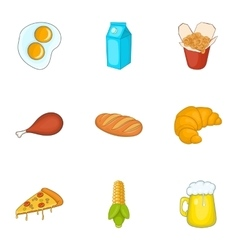 Unhealthy food icons set cartoon style vector image