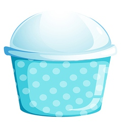 A blue cupcake container vector