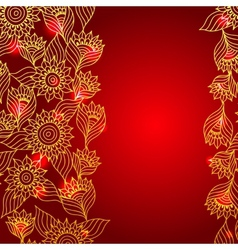 Floral red elegant lace ornament template vector
