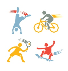 Active boys fitness sports set 3 vector image