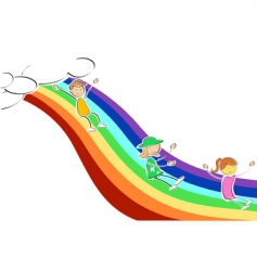 Kids sliding on rainbow vector