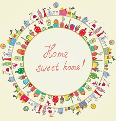 Home sweet - funny graphic card vector