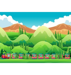 Train ride through the green field vector