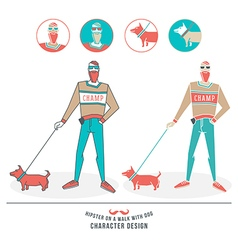 A hipster walking with a dog vector