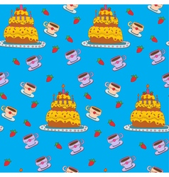 Happy birthday seamless pattern with cake vector