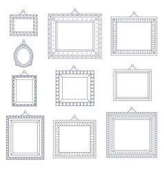 Line art frame photo picture painting decoration vector