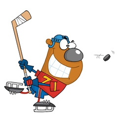 Grinning bear playing ice hockey vector