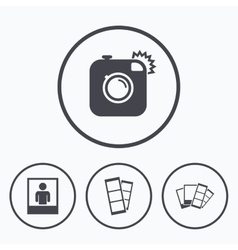 Photo camera icon flash light and selfie frame vector