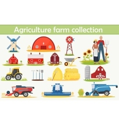 Farm agriculture infographics elements set with vector