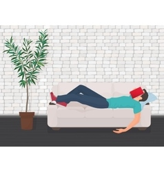 Man sleeping on the couch sofa with book covering vector