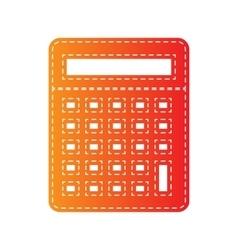 Calculator simple sign orange applique isolated vector