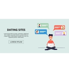 Banner for a dating site Young man talking to the vector image