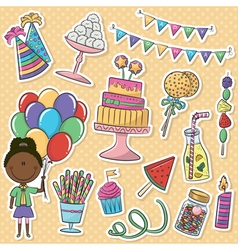 Birthday party icons stickers vector