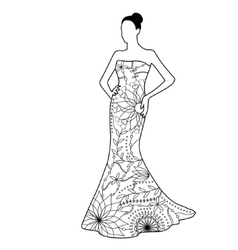 black and white bride vector image vector image