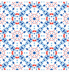 Blue red pattern flower tile background vector