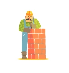 Builder Leveling Brick Wall On Construction Site vector image vector image