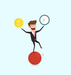 businessman balancing on sphere juggling time and vector image vector image