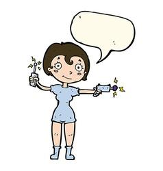 Cartoon future space girl with speech bubble vector