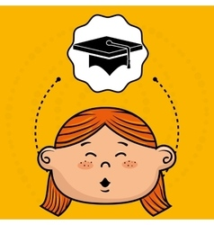 cartoon girl school icon vector image vector image