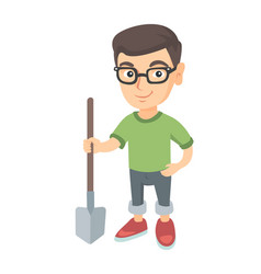 Caucasian smiling boy in glasses holding a shovel vector