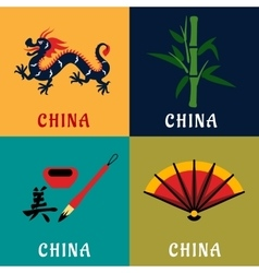 China culture and tradition flat icons vector