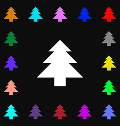 Christmas tree icon sign lots of colorful symbols vector