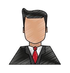 Color pencil image half body faceless man with vector