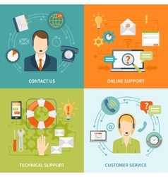 Contact Us Customer Support 2x2 Flat Icons Set vector image vector image