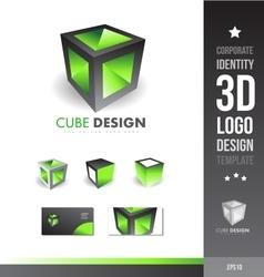 Corporate cube grey green 3d logo vector