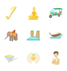 Country Thailand icons set cartoon style vector image vector image
