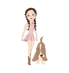 Cute little girl with dog vector image vector image
