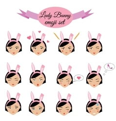 Cute sexy girl with bunny ears emoji set icons vector image vector image