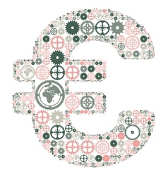 Euro sign made of colored gears vector image vector image