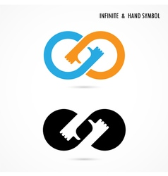 Hand sign and infinite logo elements vector
