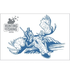 Hunting and fishing vintage emblem vector image vector image