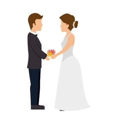 Just married man and woman couple vector