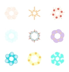 Kinds of flowers icons set cartoon style vector